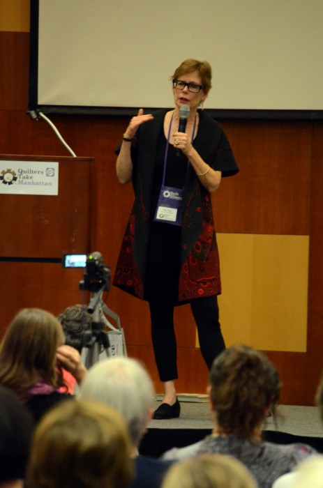 On stage at Quilters Take Manhattan, 2014
