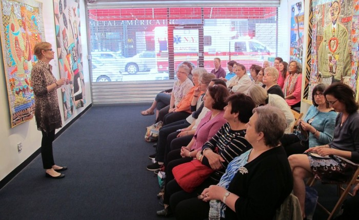 "At City Quilter, NYC, serving as ""Celebrity Emcee"" for Marie Bostwick's Quiltapalooza Book Tour."