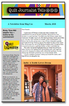 Quilt Journalist Tells All newsletter by Meg Cox